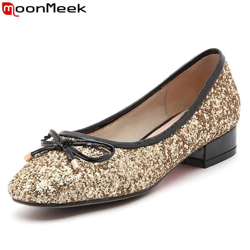 MoonMeek 2017 fashion bowknot spring autumn single shoes  women pumps shallow simple low heels shoes big size 34-43<br>