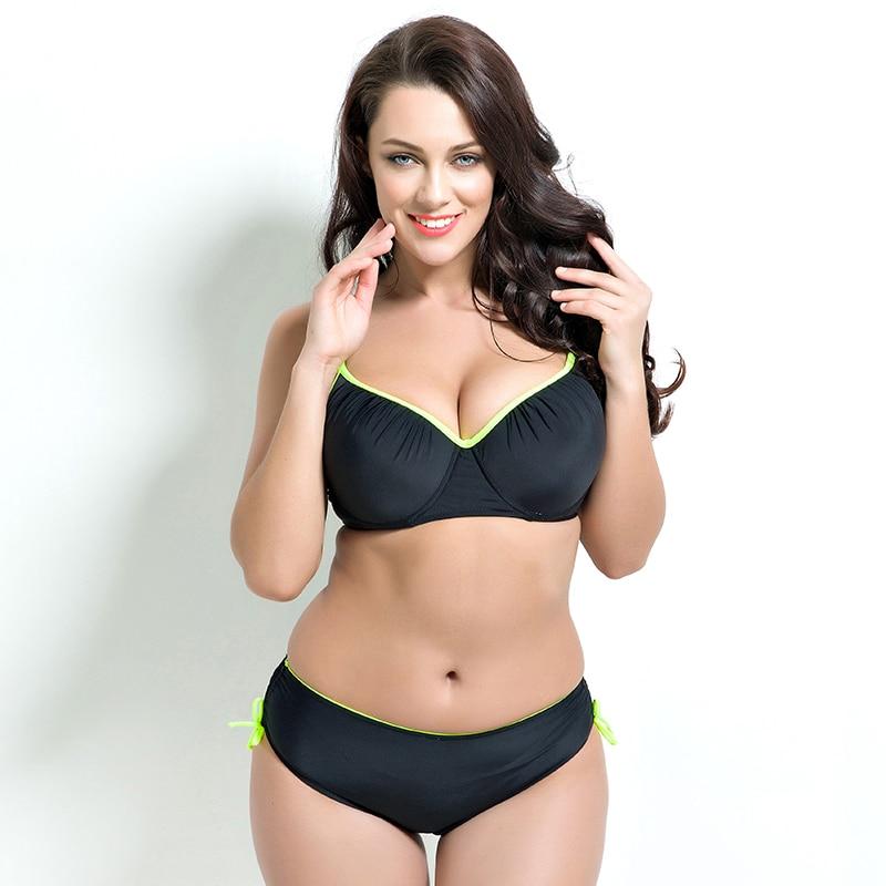 Sexy Brazilian Bathing Suit Retro Beach Swimming Suits Women 2017 Big Size Solid Bikini Set Black New Style Plus Size Swimwear<br>