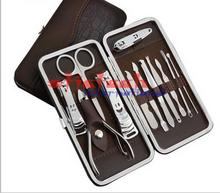 by dhl or ems 200 sets Portable Manicure Set Professional Nail Clipper Finger Plier Grooming Kit Pedicure Scissors Knife Nails(China)