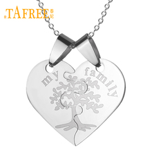 TAFREE My Family Life Of Tree Half Two Parts One Pair Necklaces Silver Color Stainless Steel Heart Pendant Necklace Gift SS024(China)