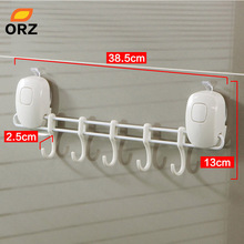 ORZ 5 Hooks Bathroom Kitchen Shelf Double Suction Cup Storage Rack Kitchen Sundries Rack Toilet Wall Mount Storage Towel Holder(China)