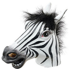 new Fun Halloween mask realistic latex horse head /Interesting funny party masquerade masks silicone face Zebra mask