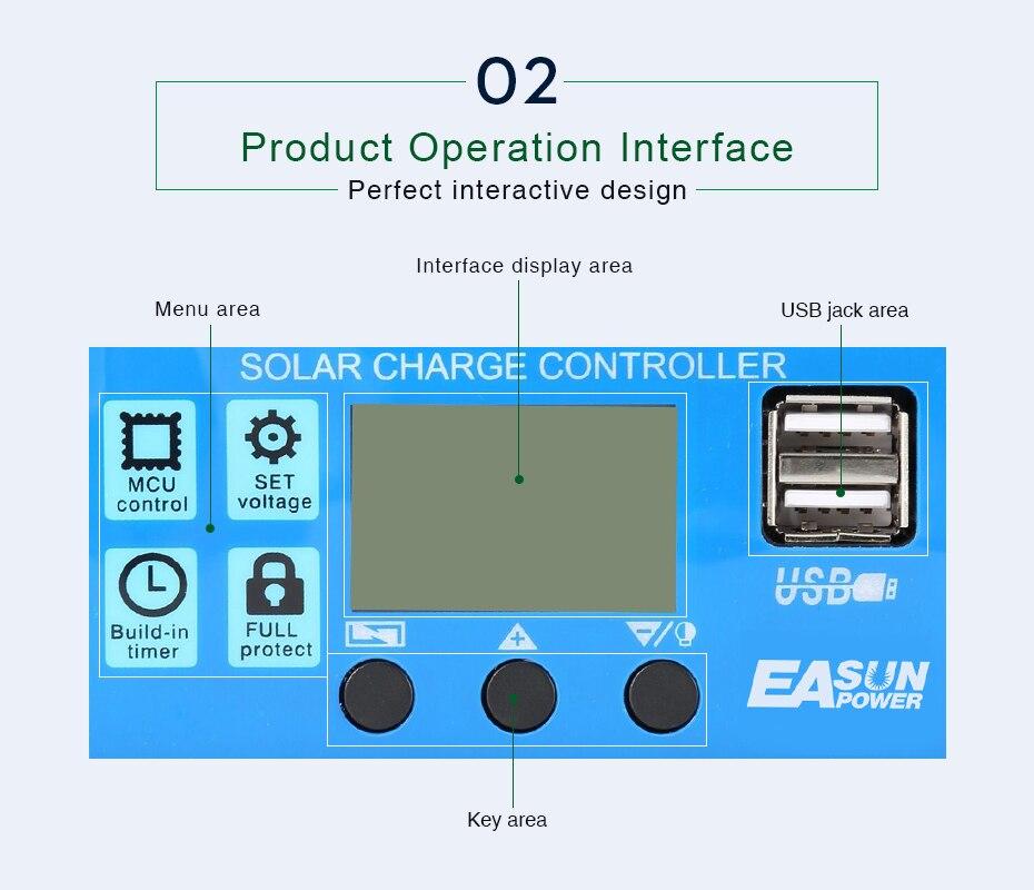 EASUN POWER Solar Controller 12V 24V 30A 20A 10A Solar Regulator PWM Solar Panel Battery Charger LCD Display Dual USB 5V Output DES-7