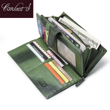 100% Real Genuine Leather Brand Wallets Handmade Sheep Skin Knitting Women Purse Zipper Coin Pocket Purse High Class Money Bag(China)