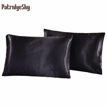 Russia US Size 2pcs 1pair Satin Solid Color Silk Pillowcases Pillow case Pillow shams Bolster Twin Queen Cal-King Russia Double