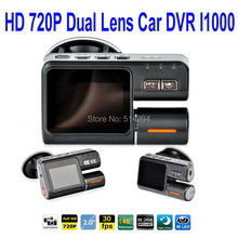 2015 New High Quality HD 720P Dual Lens Car DVR I1000 Video Recorders 140 degree ultra wide angle lens Car Camera