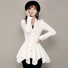 New Korean Asymmetrical Long Sleeve Women White Shirt Dress for Party Spring Autumn Blouse Top from China Factory Clothing Shop