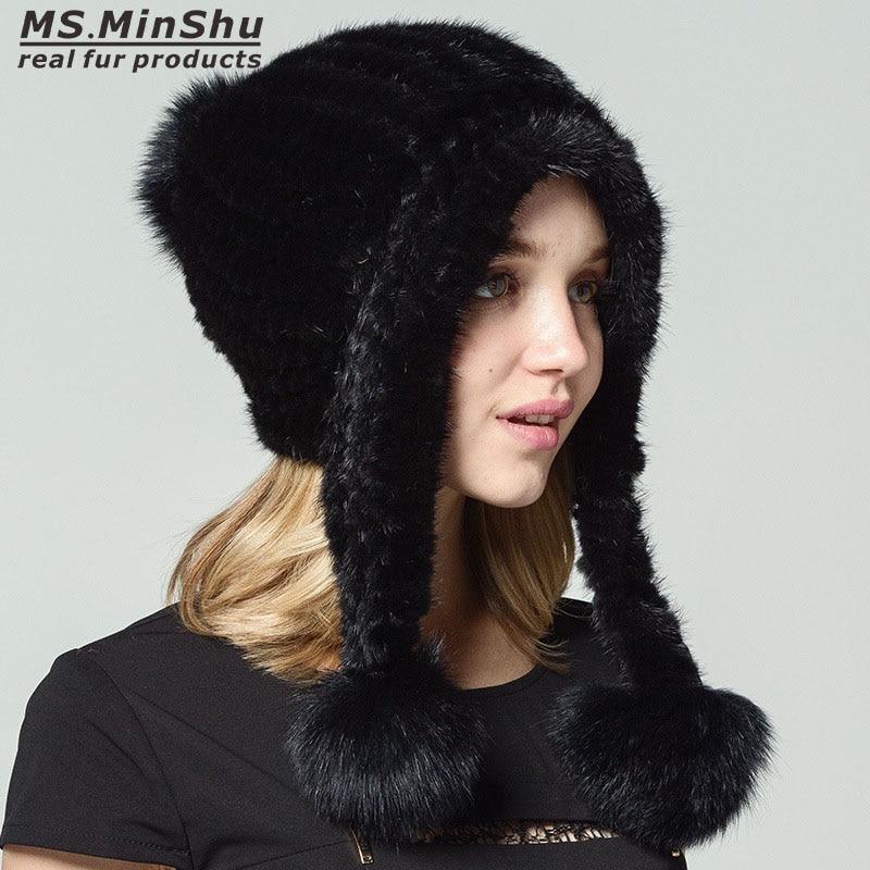 Ms.MinShu Mink Fur Hat 100% Real Mink Fur Cap Hat Winter Fashion Female Fur Hat Hand Knitted Lady Hat with Fox Fur PompomsÎäåæäà è àêñåññóàðû<br><br>
