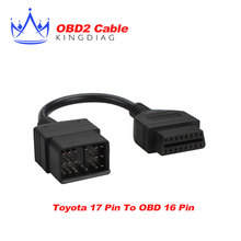 for Toyota 17 Pin to 16 Pin OBD OBD2 Adapter Cable lead diagnostic interface 17pin OBDII 16p extension cable free shipping