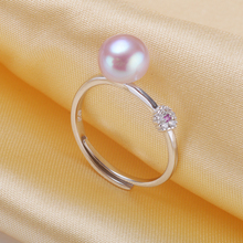 Fashion Silver Simple Pearl Ring Jewelry With Zircon Button Pearl Adjustable Size 925 Sterling Silver Rings Gift For Girlfriend