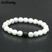 BPPCCR 2 Color Zodiac Matte Onyx stone Black White Stones color Marble Pattern Beads Men Lovers Fitness Energy Yoga Bracelets(China)