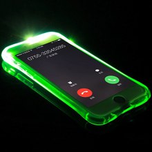For iPhone 7 Case 5 5S LED Flash Light Soft TPU Up Remind Incoming Call Cover For iPhone X Case For iPhone 6 6S Plus Cases(China)