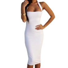Buy Bandage Bodycon Dress Sexy Halter Strapless Party Dresses Sleeveless Knee-Length 2018 Women Summer Dress Mujer GV649
