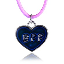 Fashion Cute Love BFF Pattern Motion Pendant Necklace Changes Color To Your Temperature Reveal Inner Emotion Stainless Steel(China)