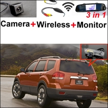 3 in1 Special Rear View Camera + Wireless Receiver + Mirror Monitor DIY Backup Parking System For KIA Borrego Mohave 2008~2014
