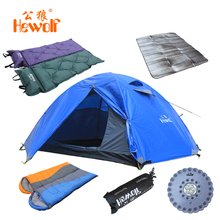 Lovers Outdoor Double Layer Camping tent Four Seasons Hiking Tent Set Sleeping Bag + Mattress + Moisture-proof Pad + Tent LED