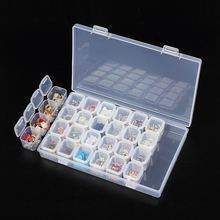 Clear Plastic 28 Slots Jewelry Beads Organizer Holder Storage Box Women Rhinestone Nail Art Tools Case Display Stand #233811(China)