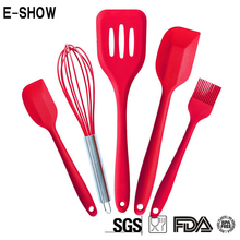 FDA Approved Silicone Cooking Tool Sets Silicone Kitchen Utensils Set Hygienic Solid Coating Kitchen Cooking Accessories 5 Pcs