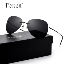FONEX Brand Men's Polarized Sunglasses Rimless Aviation Driving Titanium Alloy Sunlgass Sports Womens Sun Glasses for Men 20008(China)