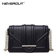 NeverOut Brand Design Women Bag Split Leather Solid Crossbody Bags Brand Name Shoulder Sac Fashion Cover Style Messenger Bag(China)