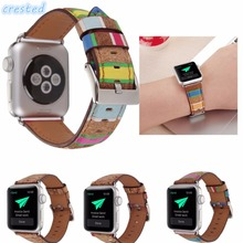 CRESTED leather watch band strap apple 42 mm 38 Vintage Folk Style Floral wrist bracelet iwatch 1 2 - Watchband Store store