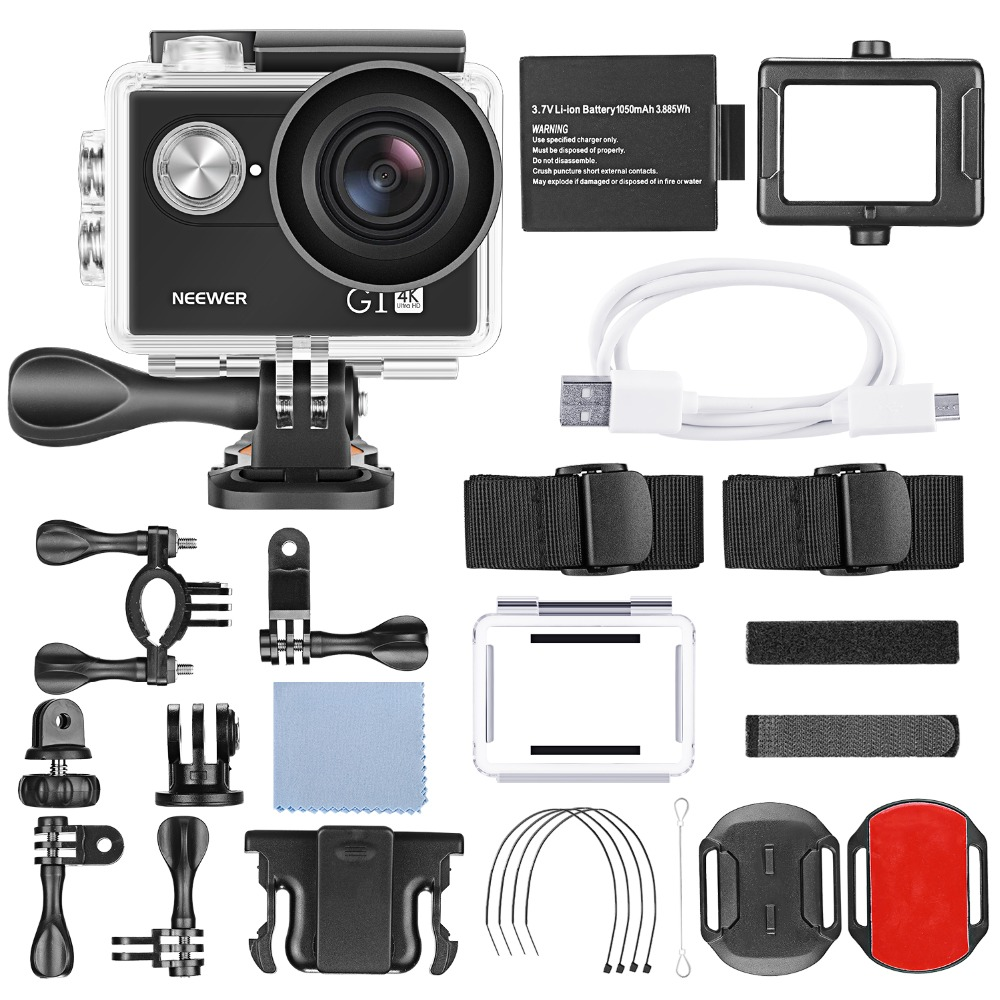 Neewer G1 Ultra HD 4K Action Camera Waterproof Camera 170 Degree Wide Angle WiFi Sports Cam Sensor 2-inch Screen Accessories Kit 5