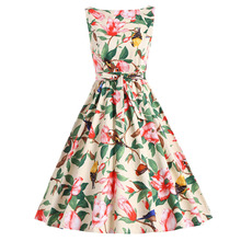 Gamiss New Vintage Party Dress Floral Yellow Floral Swan Floral Print O Neck Sleeveless A Line Belt Flowers Casual Retro Dress