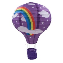 Rainbow Printing Paper Hanging Lantern 45*30cm Hot Air Balloon Wedding Decoration Lantern For Holiday Party(China)