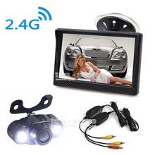 DIYKIT 5 inch LCD Display Rear View Car Monitor with LED Night Vision Car Camera Wireless Parking Security System Kit