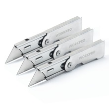 WORKPRO 3PC Folding Utility Knife Set Stainless steel Knife for Cutting Box Paper Quick-change Blade Knife(China)