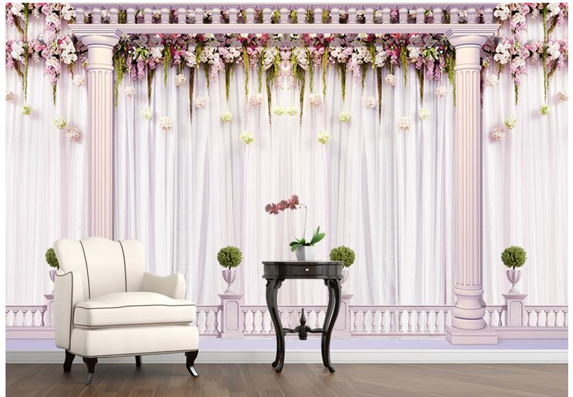 3d wallpaper custom photo non-woven mural European Romantic wedding curtain decoration painting bedroom wallpaper for walls 3d<br>
