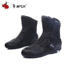 ARCX Men's Motorcycle Boots Genuine Cow Leather Waterproof Street Moto Racing Boots Motorcross Boots Motorbike Boots(China)