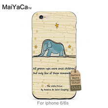 black tpu silicone Little Prince Elephant Top Detailed Popular For iPhone se 5s 6s 7 plus case