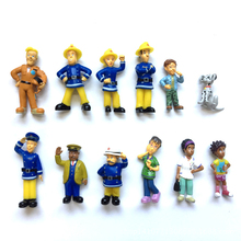12Pcs/Set anime Fireman Sam action figure toys 3-6cm Cute Cartoon PVC Dolls For Kids Christmas Gift(China)