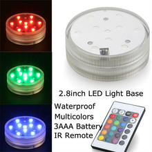 7CM Diameter 3AAA Battery Operated Remote Controlled RGB Led Light Base Waterproof Submersible LED Candle Lights For Decoration
