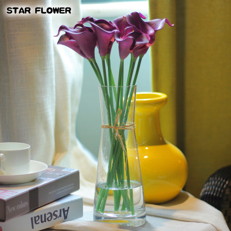 STAR FLOWER Cheap!!! 1pcs Real touch Calla Lily PU artificial flowers wedding decoration favors flores DIY Scrapbooking 01003