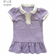 New Summer 2016 Children Dress Baby Girls Brand Polo Dress Peter Pan Collar Children/Kids Princess One-Piece Dresses