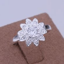 R151  Fine silver plated wholesale jewelrys,Hot sale Factory price charm free shipping 925 fashion inlaid stone Sunflower Ring