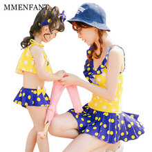 2017 New mother daughter dresses Bikinis Women Swimsuit girls Swimwear family clothing Polka Dot Beach Bathing Suits Swim Wear
