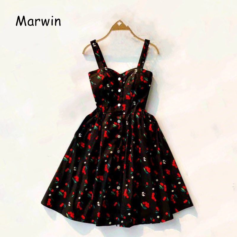 Marwin 19 New-Coming Summer Women Spaghetti Strap Print Floral Sleeveless Empire Beach Dresses High Street Style 9