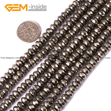 Pyrite Beads Smooth & Faceted Rondelle Beads Natural Stone Beads For DIY Jewelry Making Bracelet Necklace Sets 15 inche(China)