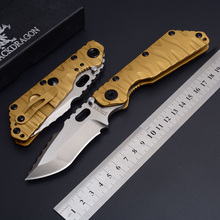 Strider folding knife SMF tactical D2 blade TC4 Desert Black Dragon titanium alloy handle outdoor survival camping pocket knife(China)