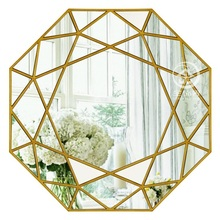 Modern round mirror glass console mirror geometric wall mirror decorative mirrored wall art(China)