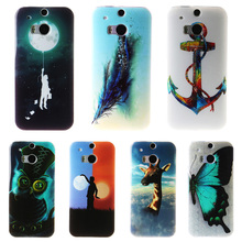 AKABEILA Soft TPU Phone Case For HTC One 2 One M8 M8s M8x 5.0inch Back Cover Cool Cute IMD Hood Accessories