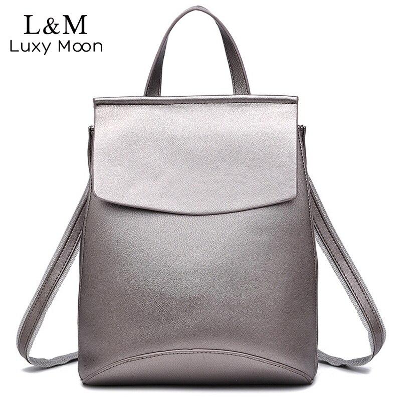 Fashion Black Leather Backpack Women Brand Quality Backpacks Teenage Girls Casual School Bag Rucksack mochila Silver XA216H<br>
