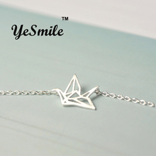 YeSmile Paper Crane Origami Necklace Chain Stirling Silver 925 Jewelry Travel Essentials Women Girls Gift for Sisters Gathering