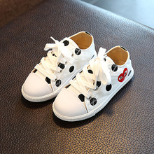 Girl's Original Canvas Lace Up Polka Dots Casual Canvas Sneaker Walker & Toddler Sizes(China)