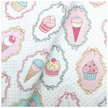 Ice Cream Printed 100% Cotton Fabric DIY Sewing Craft Patchwork the cloth Tissue for Tilda Doll Baby Cloth Bedding Textiles(China)