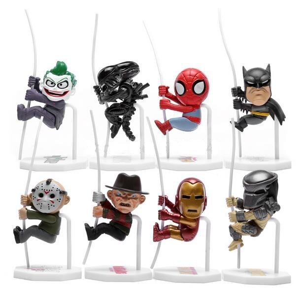 Superheroes climbing 8pcs/lot Spiderman Batman Alien Joker Predators Freddy Jason Q Version Action Figure Toy Doll PVC 5 cm<br><br>Aliexpress