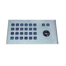 USB&PS2 Spill Proof Compact Format Panel Mount 16 flush keys numeric Keypad with 38mm Metal Trackball Industrial Pointing Device(China)